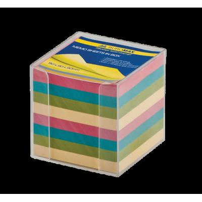 Бокс с цветной бумагой 90х90х90мм прозрачный (BM.2291-03)