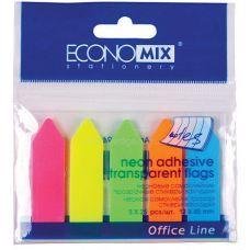 Стикеры-закладки пластиковые Стрелки 45*12мм 5цв. неон 25л, Economix