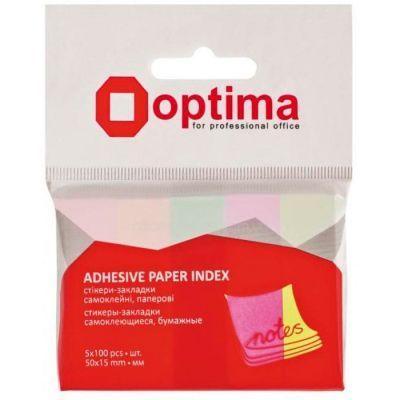 Стикеры-закладки Optima, 50x15, 5 цветов, 500 шт. (O25516)