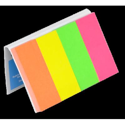 Закладки бумажные с клейким слоем, 4х50л., 20х50мм (неон, ассорти) (7576001PL)