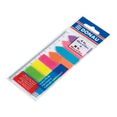 Закладки пластиковые с клейким слоем: 4 + 4 цвета по 25л., неон (7579001PL-99)