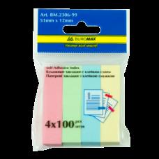 Закладки бумажные 51x12мм, 4 цвета по 100л., ассорти