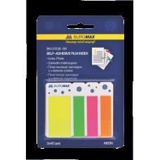 Закладки пластиковые NEON 45x25мм+45x12мм, 3 цвета по 40л., ассорти