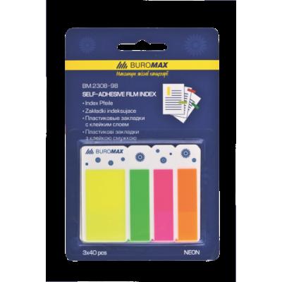 Закладки пластиковые NEON 45x25мм+45x12мм, 3 цвета по 40л., ассорти (BM.2308-98)