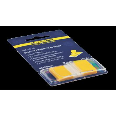 Закладки пластиковые POP-UP NEON, 45x25мм, 50л., желтый (BM.2309-08)