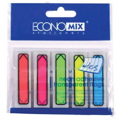 Стикеры-закладки пластиковые указатели 45*12мм 5цв. неон 25л, Economix (E20947)
