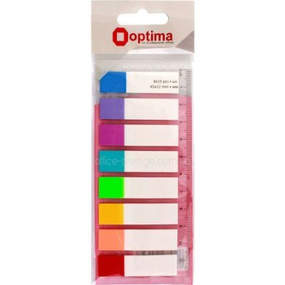 Стикеры-закладки пластиковые 12х45 8цв.*15л. неон. Optima (O25532)