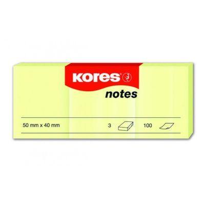 Блок бумаги с клейким слоем 40х50мм Kores 100 листупаковка 3 шт. желтый (K46050)