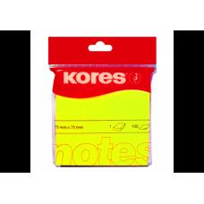 Блок бумаги с клейким слоем 75х75мм Kores 100 лист неон желтый