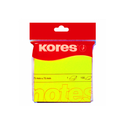 Блок бумаги с клейким слоем 75х75мм Kores 100 лист неон желтый (K47076)
