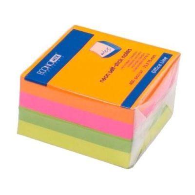 Блок бумаги с клейким слоем 75х75мм Economix 400 лист неон микс (E20949)