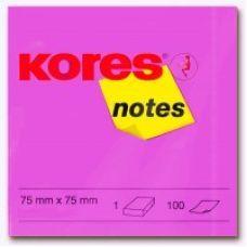 Блок бумаги с клейким слоем 75х75мм Kores 100 лист неон розовый