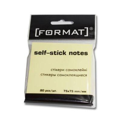 Блок бумаги с клейким слоем 75х75мм Format 80 лист желтый F27932 (F27932)