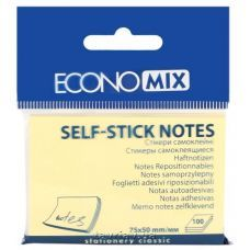 Блок бумаги с клейким слоем 50х75мм Economix 100 лист желтый