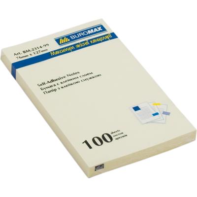 Блок бумаги с клейким слоем 76x127мм 100л. желтый (BM.2314-01)