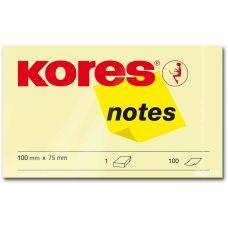 Блок бумаги с клейким слоем 75х100мм Kores 100 лист желтый