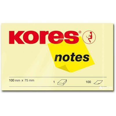 Блок бумаги с клейким слоем 75х100мм Kores 100 лист желтый (K46100)