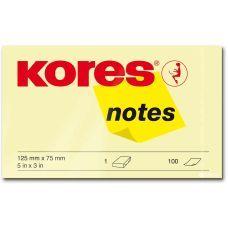Блок бумаги с клейким слоем 75х125мм Kores 100 лист желтый