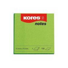 Блок бумаги с клейким слоем 75х75мм Kores 100 лист неон зеленый