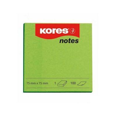 Блок бумаги с клейким слоем 75х75мм Kores 100 лист неон зеленый (K47077)