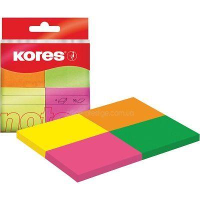 Блок бумаги с клейким слоем 50х40мм Kores 200 лист неон микс (K48450)