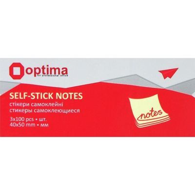 Блок бумаги с клейким слоем 40х50мм Optima 3 блоки х 100 лист желтый (O25501)