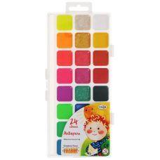 """Краски акварельные """"Оранжевое солнце"""", полусухие, 24 цвета"""