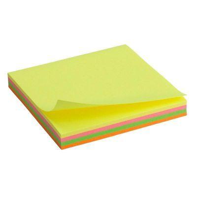 Блок бумаги с клейким слоем 75х75мм  100 лист неон микс ( 2325-02-a)