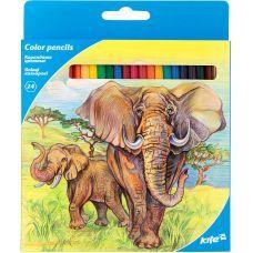 """Карандаши цветные, 24 шт. Kite """"Животные"""" Шестигранная форма корпуса."""