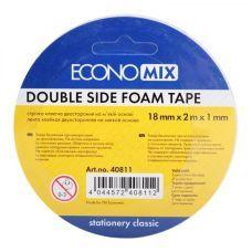 Скотч двухсторонний 18мм х 2м х 1мм FOAM пенная основа Economix